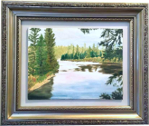 """The River"" 1999, oil on canvas. My first oil. This was painted under the single-sitting tutelage of a 93 year old woman known to me only as Memère. That was the only semi-formal instruction I ever received."