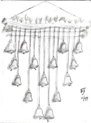 """Fifteen Bells on a Burgundy Wall"" 1999, pencil. This one taps into the imagination of the viewers, relying upon them to fill in the blank (wall)."