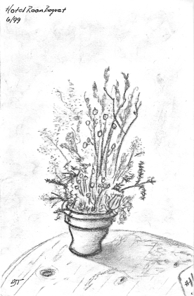 """Hotel Room Bouquet"" 1999, charcoal. It was in 1999 I received my first set of charcoal pencils. This was one of my first real sketches."