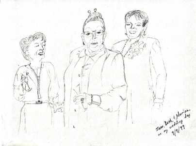 """Jean, Beth, and Marina"" pencil and charcoal, 1999. People are hard. I didn't do much with people. However, just because it's hard doesn't mean you shouldn't try it! This is a wonderful memory as all these lovely ladies are now gone."