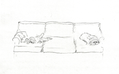 """Lazy Day"" 1999, pencil. These were my belovèd childhood dogs, Zoë the Maltese and Lhiza the Lhasa."