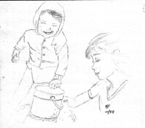 """Two Kids with a Bucket"" 1999, pencil. This is me and my sister at the beach, circa 1983."