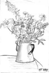"""Watering Can Bouquet"" 1999, charcoal. Still life from my time at a beach side cottage in New Brunswick, Canada."